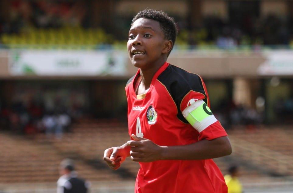 Kenya National women football team captain Kinuthia Mary Wanjiku reacts against Algeria during the final ...