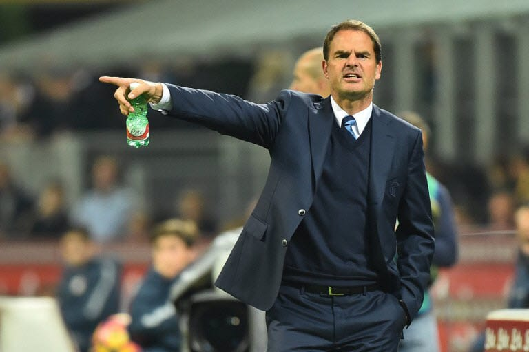 Former Inter Milan's coach from Netherland Frank De Boer gestures during the Italian Serie A ...