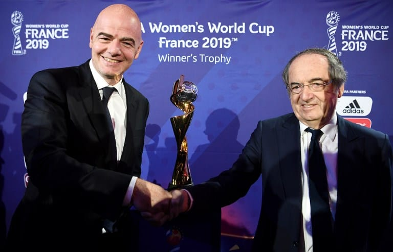 FIFA President Gianni Infantino (L) and French president of French football association (FFF) Noel Le ...